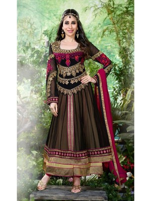 c14bed0a464 Black and pink designer net georgette semi stitched anarkali suit - Zoharin  - 2578120