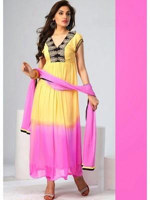 Yellow and pink casual chiffon semi stitched anarkali suit
