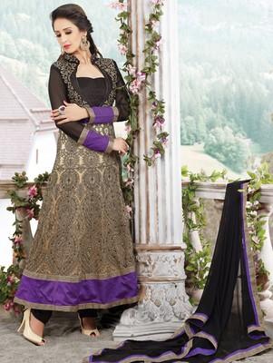 Black  and  purple designer georgette semi stitched anarkali suit