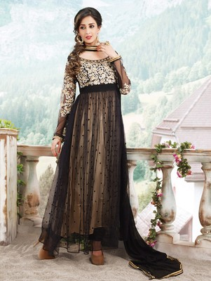 Beige  and  black designer georgette semi stitched anarkali suit