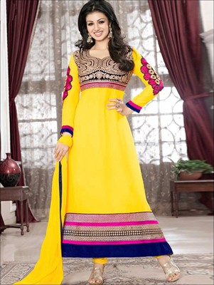 Yellow and multicolor designer georgette semi stitched anarkali suit