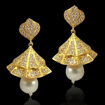 Gold pearl jhumkas