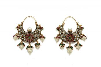 Ethnic Grean And Red Bali Earrings