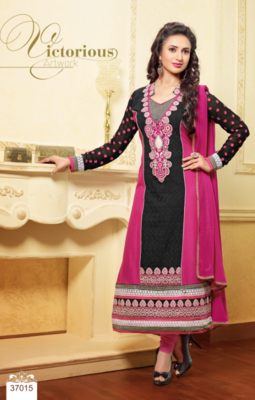 Black embroidered velvet semi-stitched salwar with dupatta