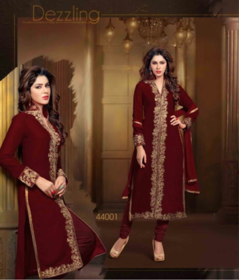 Maroon embroidered velvet semi-stitched salwar with dupatta