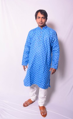 Blue And White Indo Western Kurta  Pajama