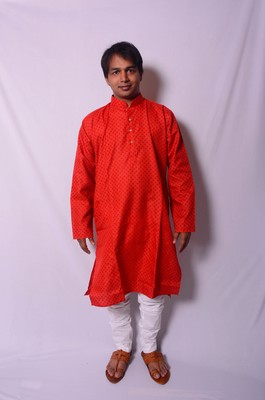 Red And White Indo Western Kurta  Pajama