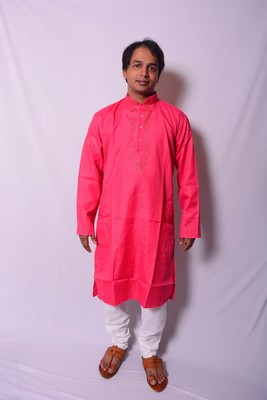 Pink And White Indo Western Kurta  Pajama
