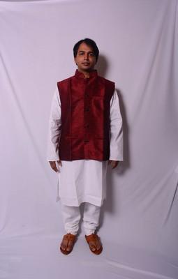 White And White Indo Western Kurta  Pajama With Jacket