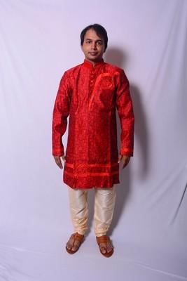 Red And Gold Indo Western Kurta  Pajama