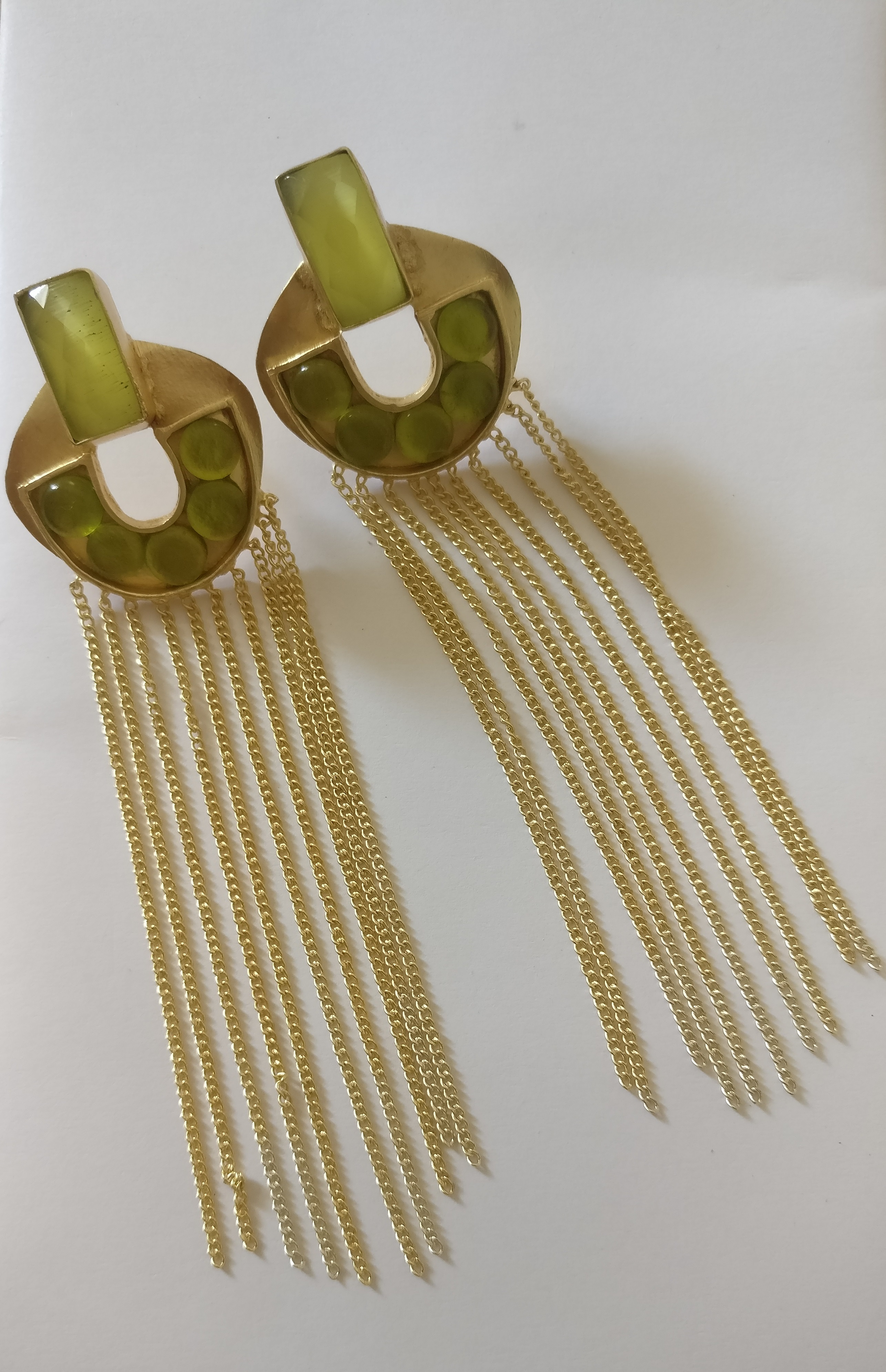 4a82ef1e4 Green stones with long gold chain tassel earrings - Jaipur Handicrafts &  Fashions - 2579189