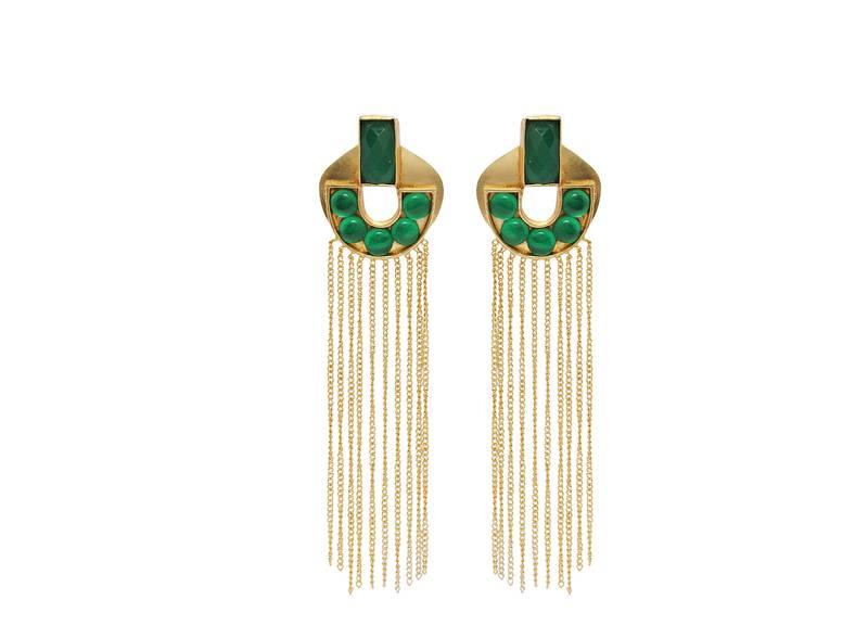 cf3075cd5 Green stones with long gold chain tassel earrings - Jaipur ...