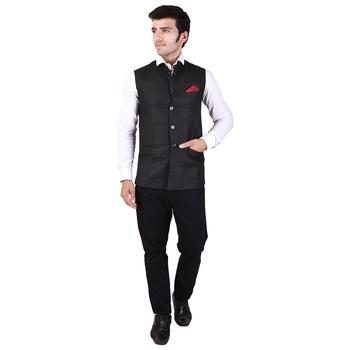 Black Cotton Poly Modi Jacket