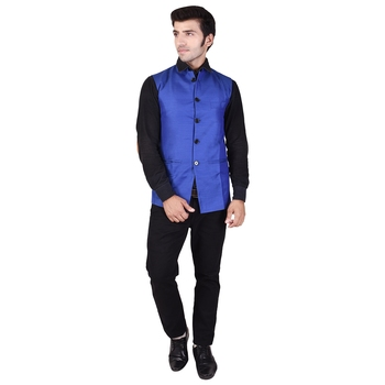 Blue Cotton Poly Modi Jacket
