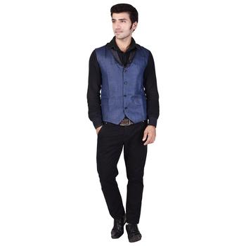 Blue Cotton Poly Modi Jacket
