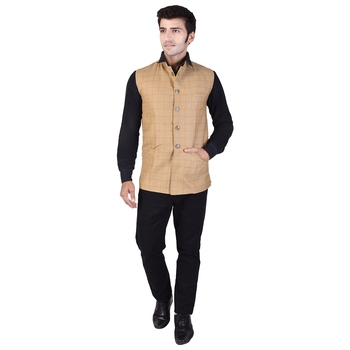 Beige Cotton Poly Modi Jacket
