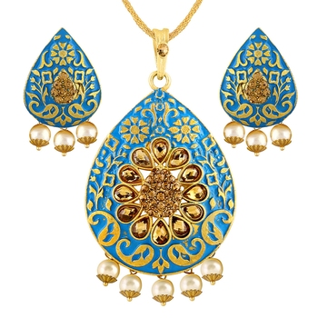 Modish Gold Plated With Lct Stone Pendant Set For Women