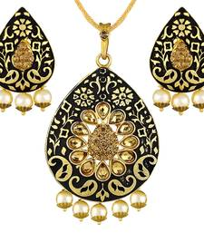 Buy Fashionable Meenakari Work Gold Plated With Antique LCT Stone Pendant Set For Women pendant online