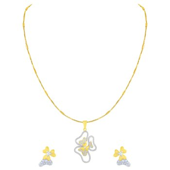 Designer Gold Plated American Diamond Pendant Set For Women
