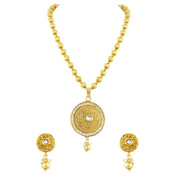 Cluster Round Shape Gold Plated Pendant Set For Women
