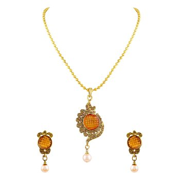 Eye Catchy Lct Stone With Crystal Gold Plated Pendant Set For Women