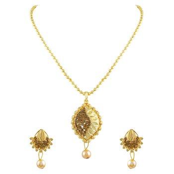 Enchanting Pear Shape Polki Gold Plated Pendant Set For Women