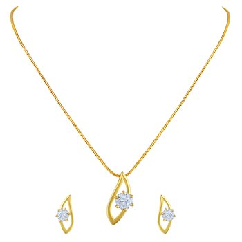 Fancy Gold Plated Pendant Set For Women