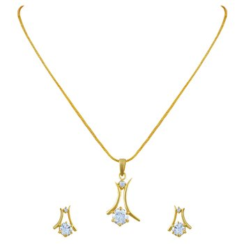 Glistening Gold Plated Pendant Set For Women