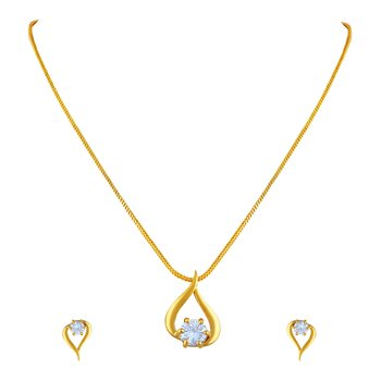 Intricately Heart Shape Gold Plated Pendant Set For Women