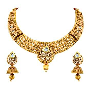 Splendid White Stone Gold Plated Choker Style Necklace Set For Women