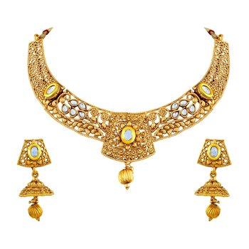 Youthful White Kundan Gold Plated Choker Style Necklace Set For Women