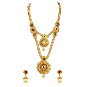 Eye Catchy Gold Plated Opera Style Necklace Set For Women