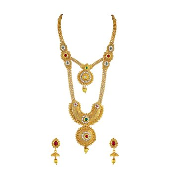 Enchanting Gold Plated Opera Style Necklace Set For Women