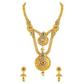 Beguiling Gold Plated Opera Style Necklace Set For Women