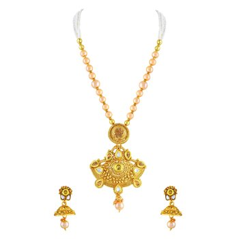 Pretty Gold Plated Matinee Style Necklace Set For Women