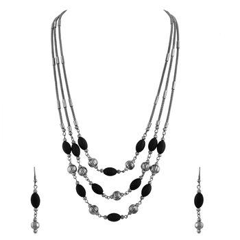 Fancy Oxidised Opera Style Necklace Set For Women