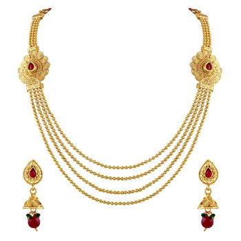 Fancy Gold Plated Rope Style Necklace Set For Women