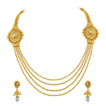 Traditional Jewellery Set Gold Plated Rope Style Necklace Set For Women