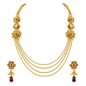 Traditional Gold Plated Rope Style Necklace Set For Women