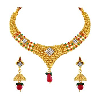 Traditional Multy Color Gold Plated Choker Style Necklace Set For Women