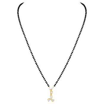 Glamorous Fancy Gold Plated White Stone Mangalsutra For Women