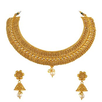 Jalebi Shape Traditional Gold Plated Choker Style Necklace Set For Women