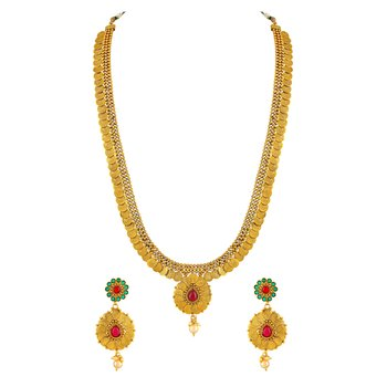 Laxmi Coin Traditional Gold Plated Rope Style Necklace Set For Women