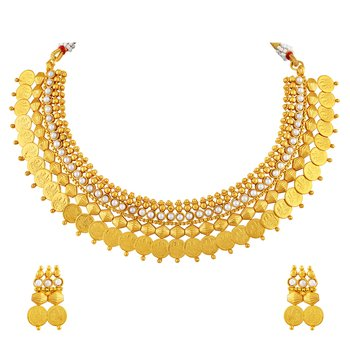 Stunning Laxmi Coin Traditional Gold Plated Choker Style Necklace Set For Women