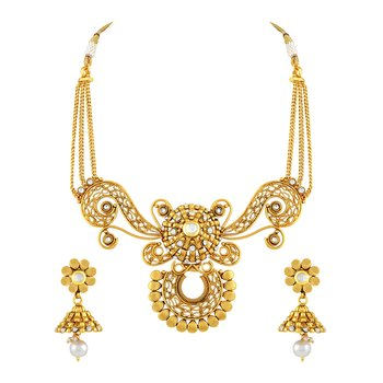 Dazzling Filigiree Design Gold Plated Choker Style Necklace Set For Women