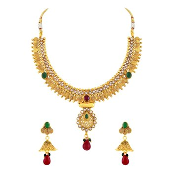 Amazing Jalebi Shape Gold Plated Choker Style Necklace Set For Women