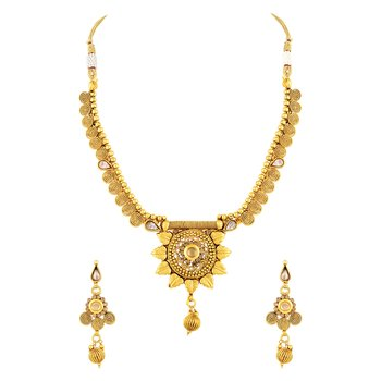 Angelic Flower Shape Jalebi Design Gold Plated Princess Style Necklace Set For Women