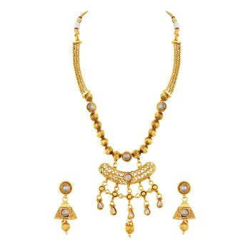 Gorgeous Filigiree Design Gold Plated Choker Style Necklace Set For Women