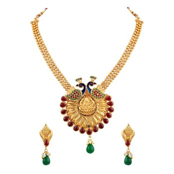 Wavy 3 String Peacock Design With Meenakari Work Gold Plated Matinee Style Necklace Set For Women