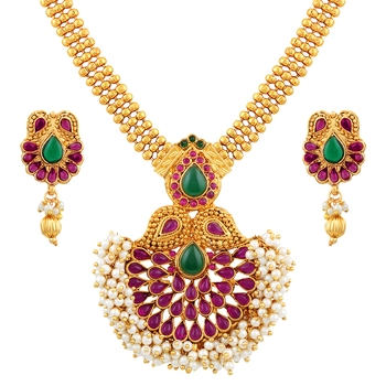 Ethnic 3 String Gold Plated Matinee Style Necklace Set For Women